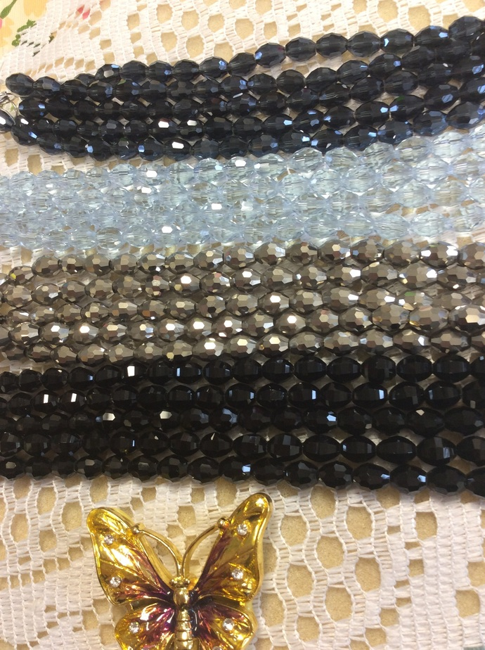 """Your Choice of one 8"""" strand of 8x10 mm Glass Crystal Faceted Rice shape beads"""