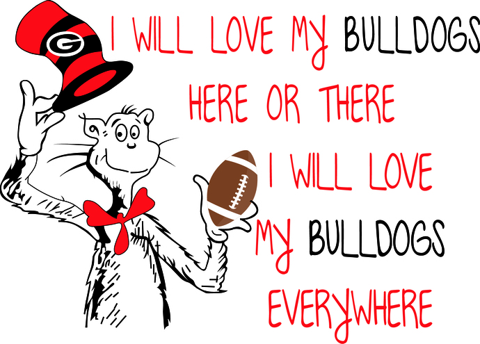 Cat In the Hat Georgia Bulldogs, Dawgs, GA Bulldogs, SVG