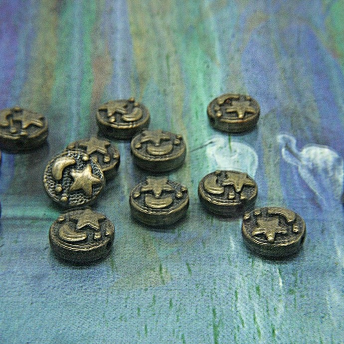 Antique Vintage Bronze Moon and Star metal beads - flattened Round spacer
