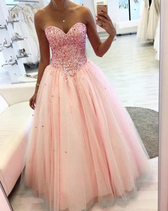 pink pageant dresses for women crystals sweetheart neck elegant beaded tulle