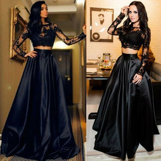 black prom dresses long sleeve lace appliqué elegant 2 piece prom gowns vestido