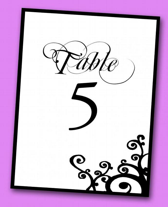 Corner Swirl Table Number (Set of 10)