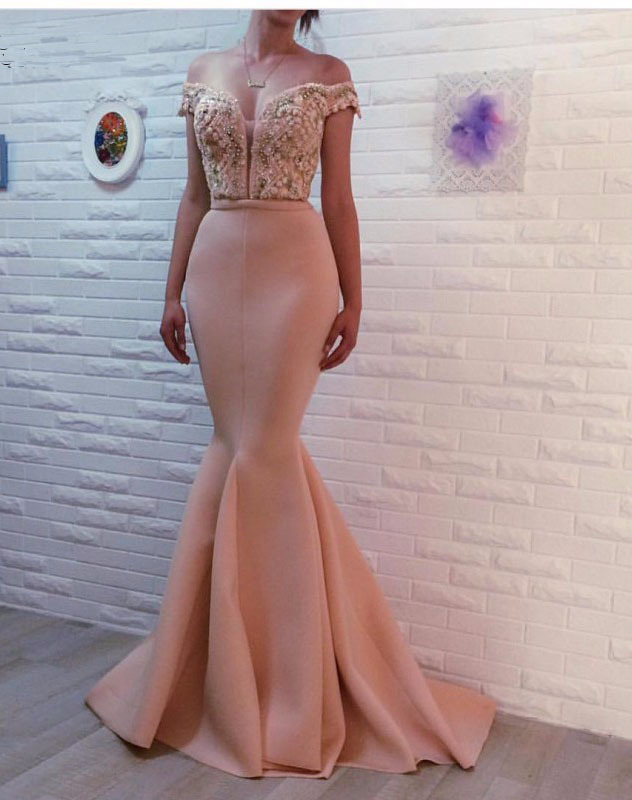 off the shoulder beaded evening dresses long mermaid dusty pink formal dress