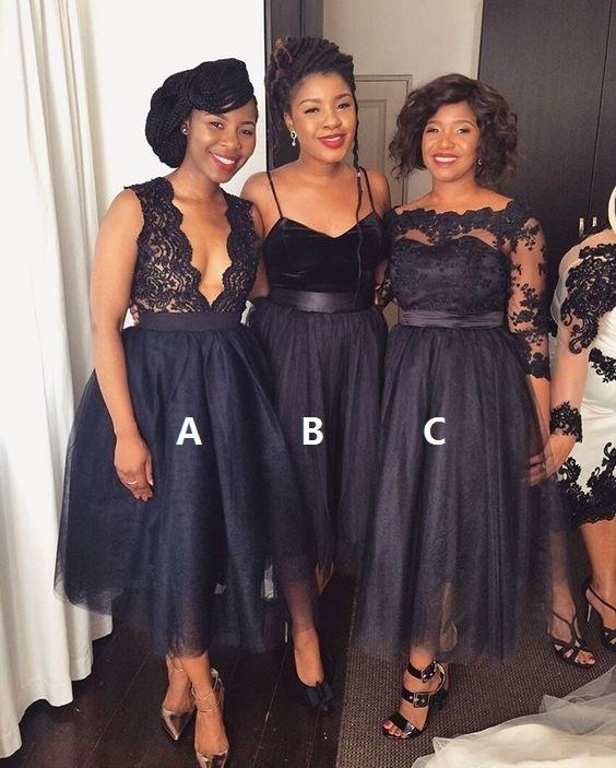 vintage bridesmaid dresses short mismatched lace applique black wedding party
