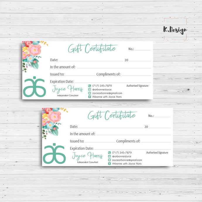 Arbonne Gift Certificate, Personalized Arbonne Gift Card, Arbonne AB12