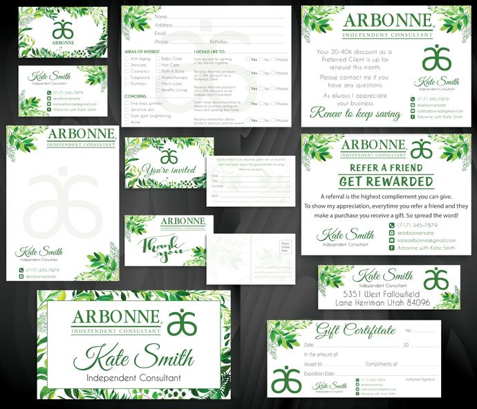 Printable Arbonne Marketing Bundle, Personalized Arbonne Cards AB20