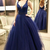 Ball Gown Sleeveless V-neck Floor-Length Beading Tulle Dresses,FLY853