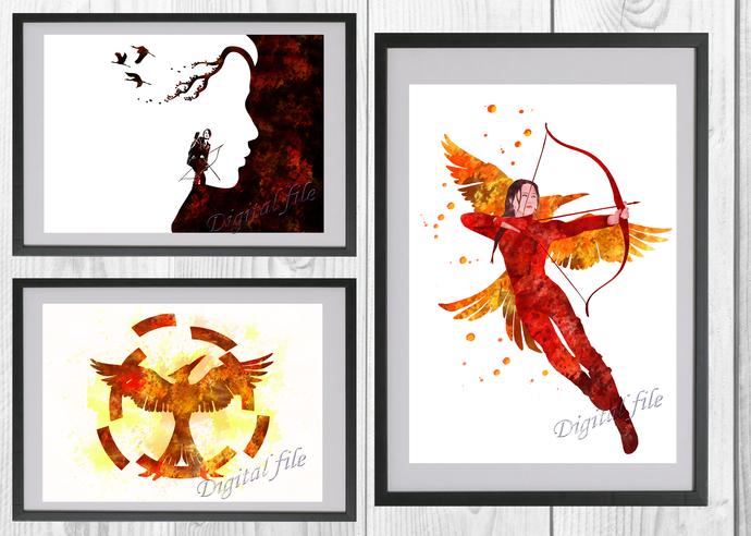 Hunger Games Set, Hunger Games print, poster, home decor nursery room, wall
