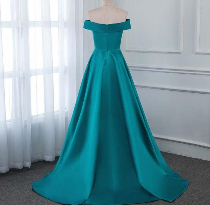 Beautiful Satin Long Prom Dresses, Off Shoulder Evening Gown  2020