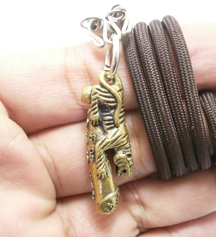 Magic Tiger ride lingham phallic penis Thai Yant blessed brass amulet pendant