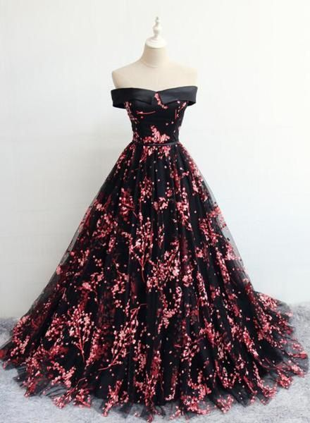 Black Off Shoulder Floral Tulle Lace-up Prom Dress, Charming Party Gown