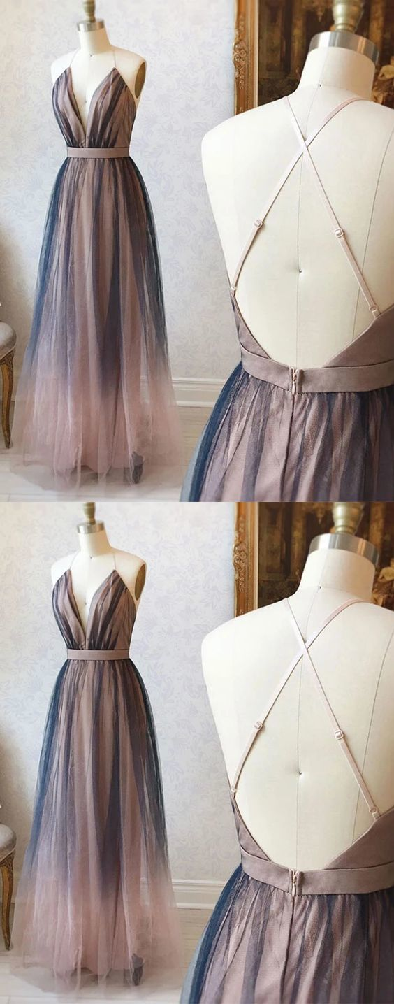 Simple v neck tulle long prom dress tulle evening dress