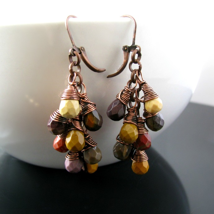 Wire wrapped dangly earrings with mookaite drops