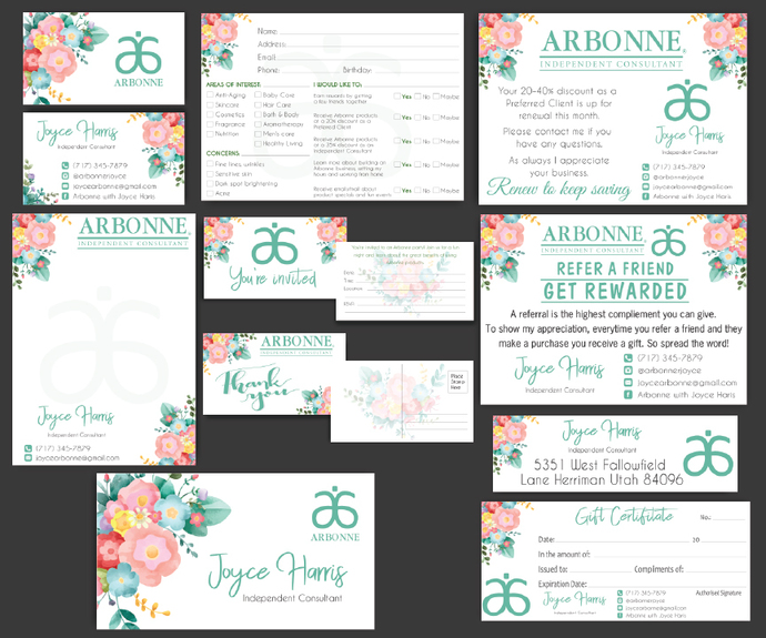Printable Arbonne Marketing Bundle, Personalized Arbonne Cards AB12