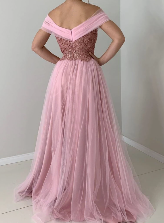 Pink Prom Dress,Tulle Prom Gown,Off the Shoulder Evening Dress,A-Line Prom Gown