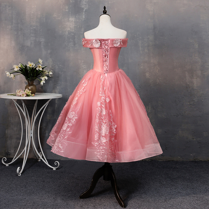 Pink Short Tulle Sweetheart Flowers Applique Party Dress, Pink Formal Dress 2020