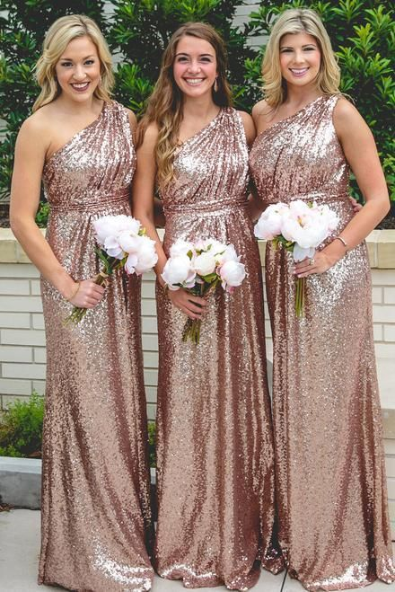 rose gold bridesmaid dresses long one shoulder cheap sparkly custom wedding