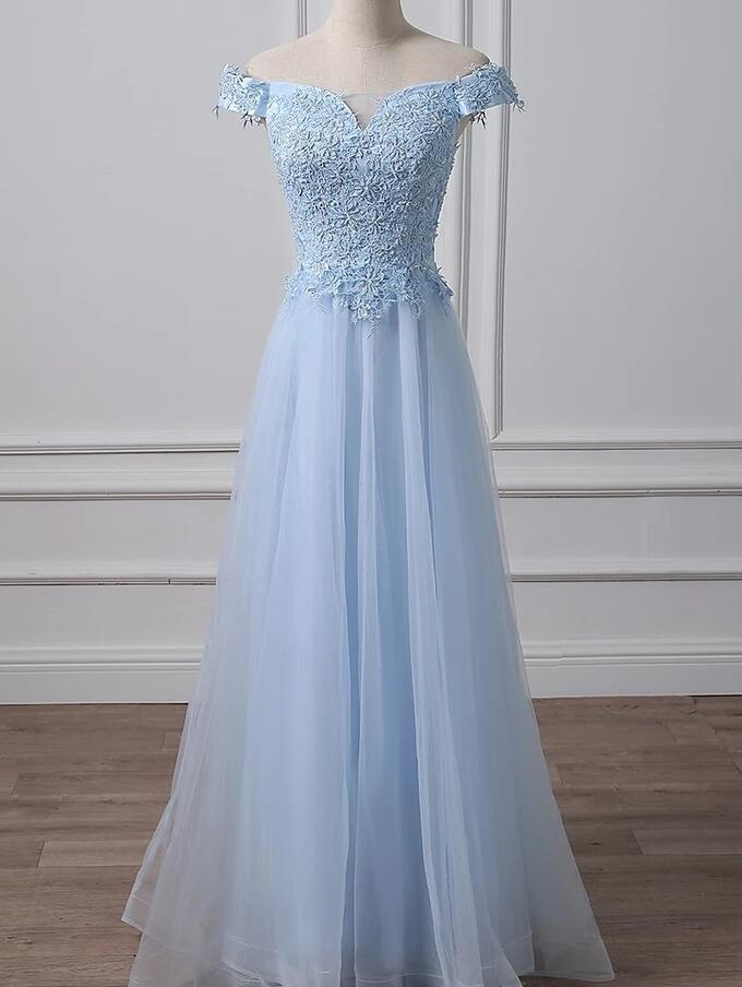 Elegant A-line Light Blue Off Shoulder Tulle With Lace Party Gown, Prom Dress