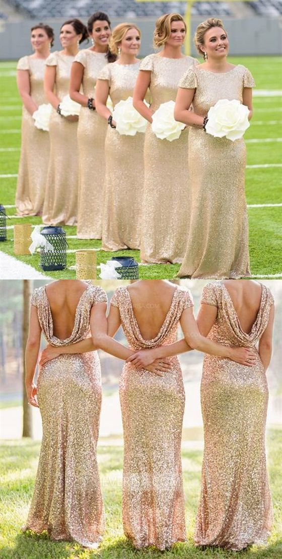 gold bridesmaid dresses long short sleeve mermaid elegant wedding party dresses