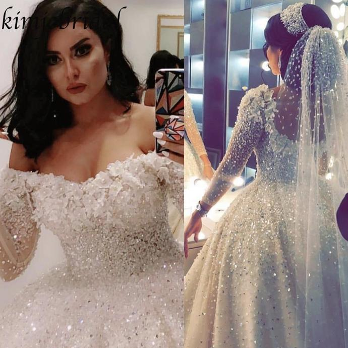 sparkly wedding dress ball gown crystal beaded long sleeve floral wedding gowns