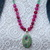 Rose Garden Beaded Necklace with Pendant Rose & Green Natural Stone Jewelry by