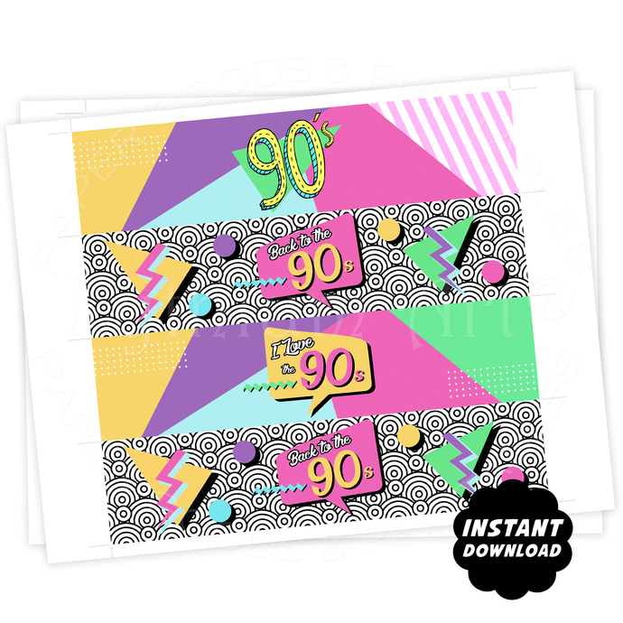 90s Party Water Bottle Labels, Instant Download, 90s Birthday Party Labels, I