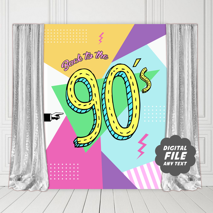 90s Party Backdrop, Printable Banner for Back to the 90s Party Decorations