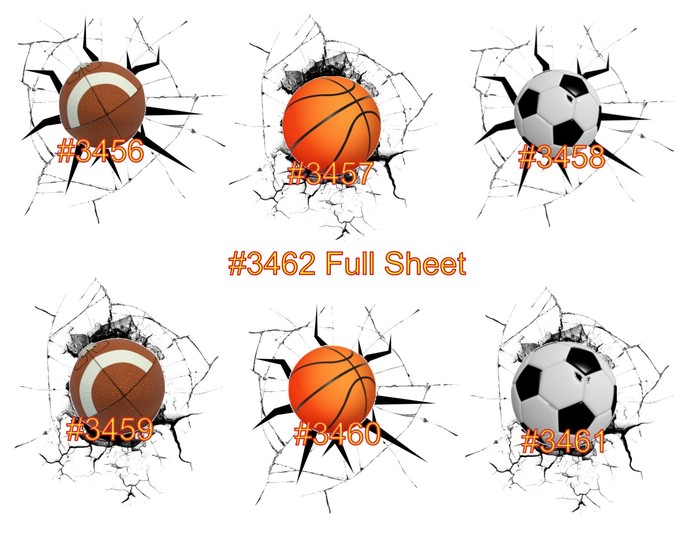 "Waterslides ""Ball Splat's"" Laser Printed #3456-#3462"