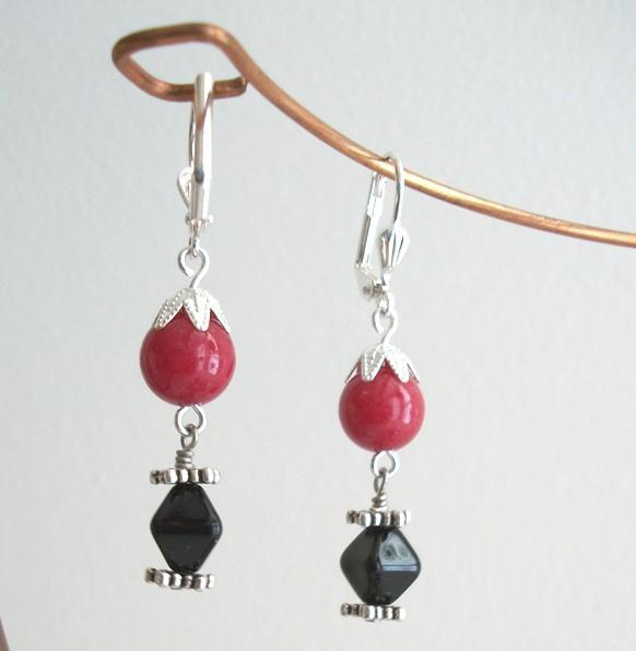 Handmade Mountain Jade and Czech Glass Red and Black Leverback Earrings