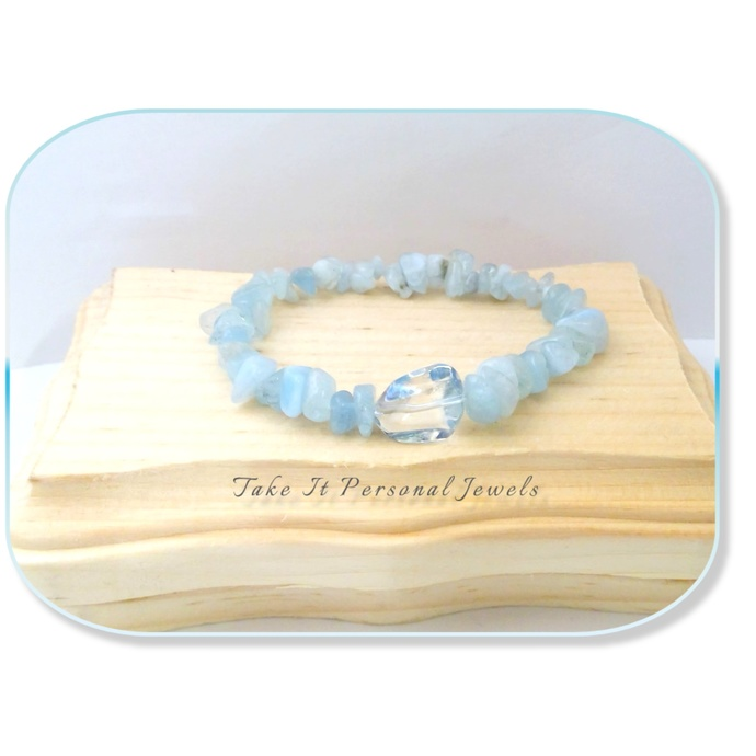 Gemstone Aquamarine Bracelet Iridescent Nuggets Crystal Jewelry