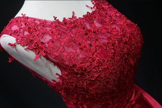 Red Satin Short Lace Homecoming Dress, Red Short Prom Dress