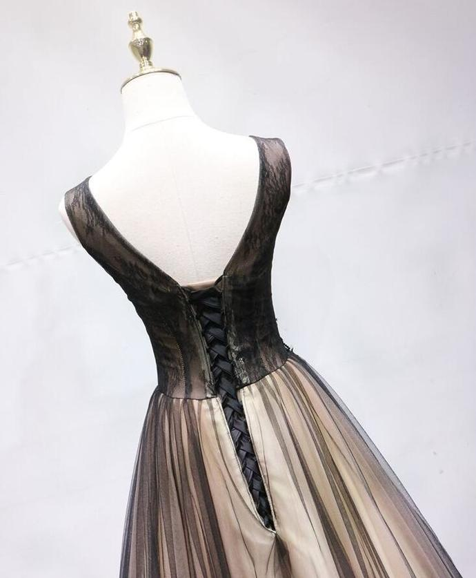 Beautiful Champagne Tulle Long Party Gown, V-neckline Prom Dress 2020