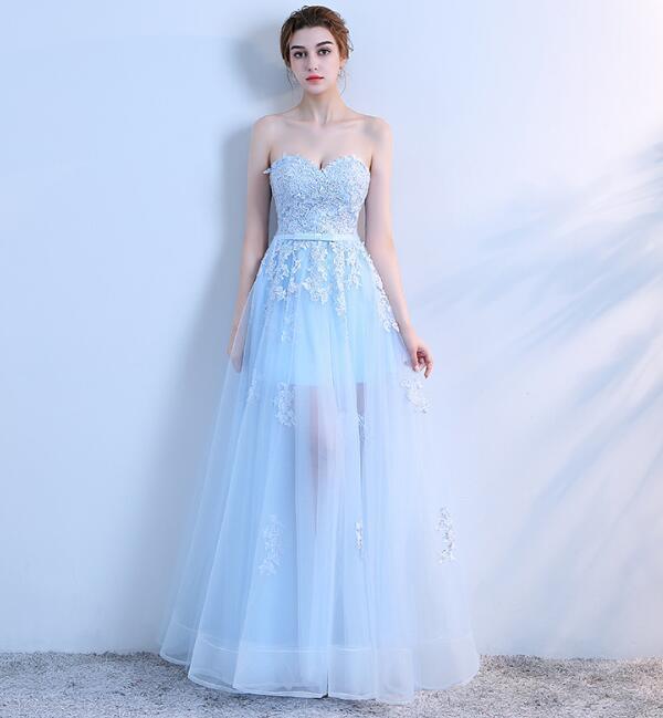 Light Blue Sweetheart Cute Tulle Party Dress, Blue Prom Dress 2020
