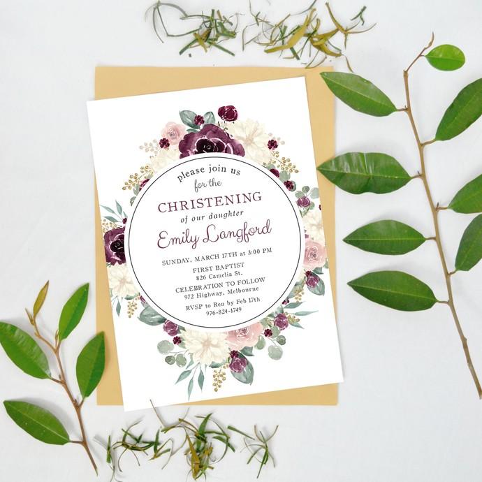Christening Invitation Girl Floral, Girl Christening Invite BS14