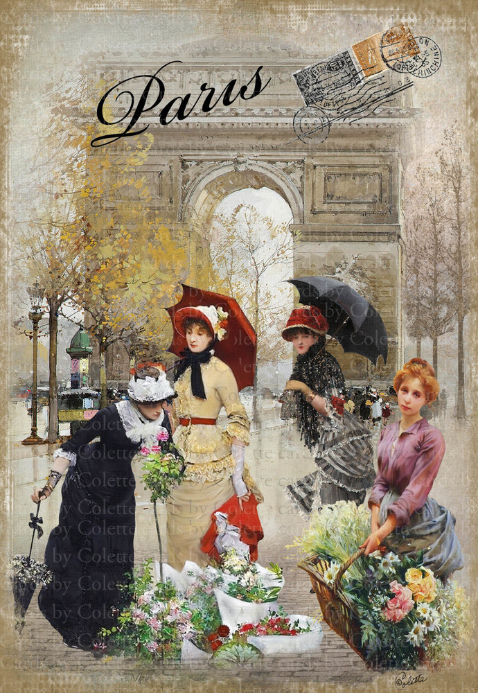 The Flower Seller Digital Collage Greeting Card2641