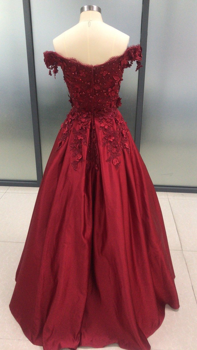 Dark Red Satin with Lace Applique Ball Gown Formal Dress, Prom Dress 2020