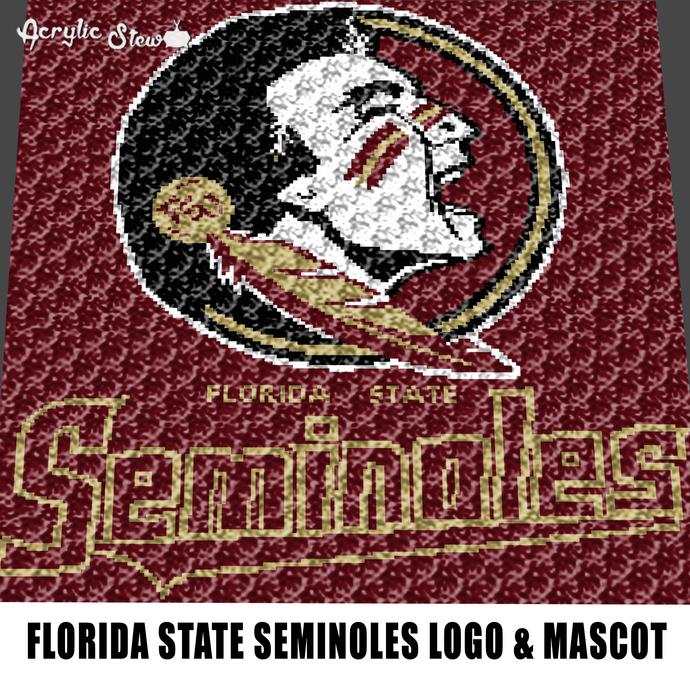 Florida State Seminoles Logo College crochet graphgan blanket pattern; graphgan
