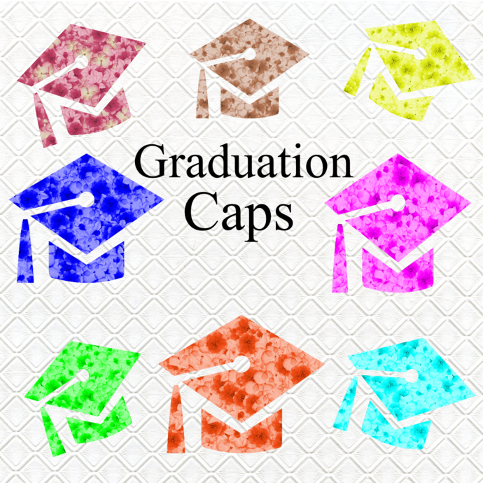 Graduation Caps4-Digital Clipart-Art Clip-Gift Cards-Banner-Gift Tag-Jewelry-T