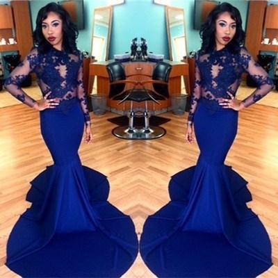 modest evening dresses long royal blue lace appliqué elegant satin mermaid