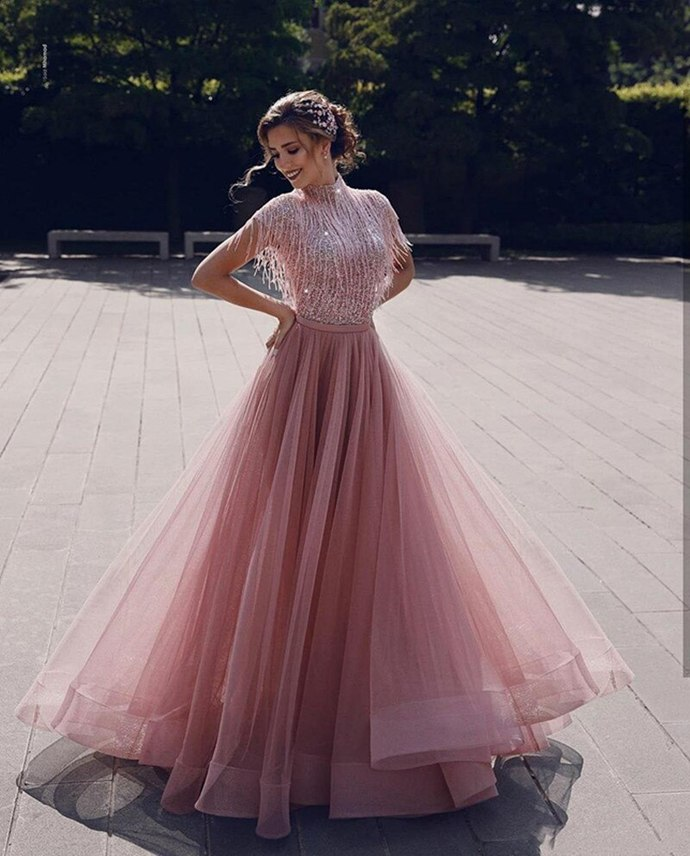 tassel prom dresses 2020 long high neck sparkly beaded pink tulle prom gown
