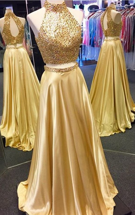 Gold Prom Dress,Satin Prom Gown,Two Pieces Evening Dress,Beading Prom Gown 0161