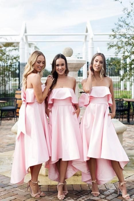 pink bridesmaid dresses long high low strapless elegant simple cheap wedding