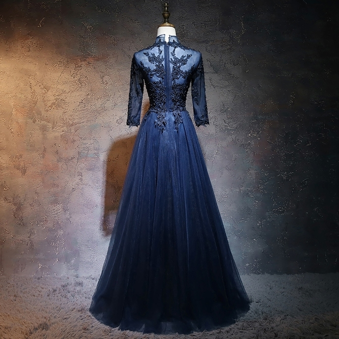 Blue Tulle High Neckline with Sleeves Party Dress, A-ling Prom Dress 2020