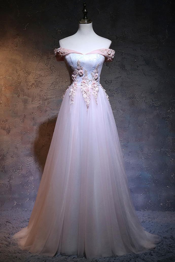Pink Off Shoulder Bridesmaid Dress, Long Pink Formal Dress