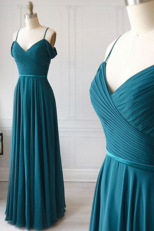 teal green bridesmaid dresses long chiffon off the shoulder a line cheap custom