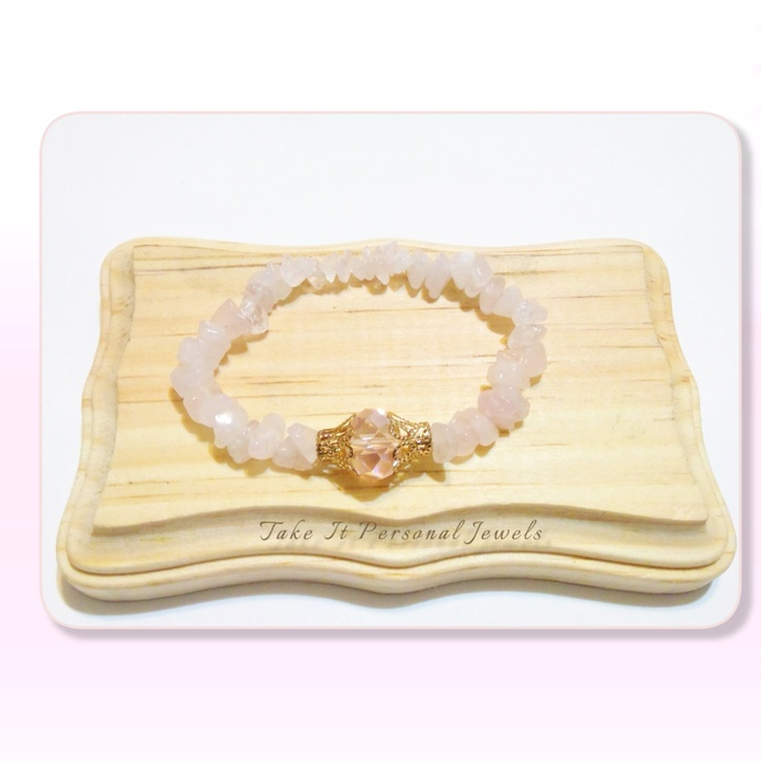 Rose Quartz Gemstone Bracelet Spring Gemstone Jewelry