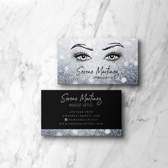 Eyelash Business Cards, DIY Lash Artist Card, Makeup Artist Card BC06