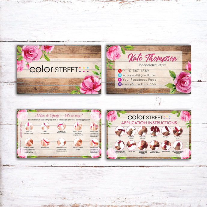 ROSE COLOR STREET BUSINESS CARDS, PERSONALIZED COLOR STREET APPLICATION CARDS