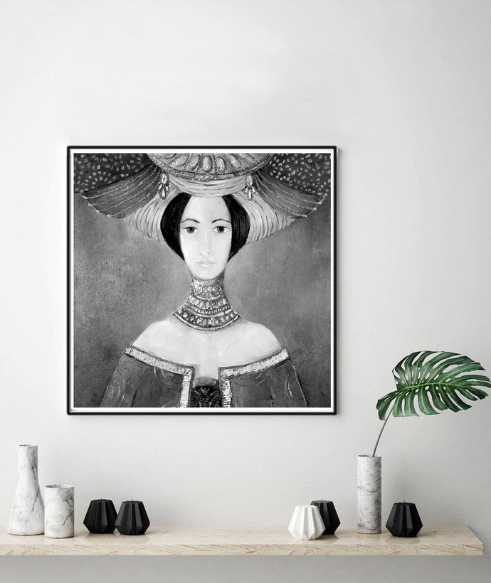 Printable woman painting, Vintage Inspired, Wall Hanging - Illustration, dreamy
