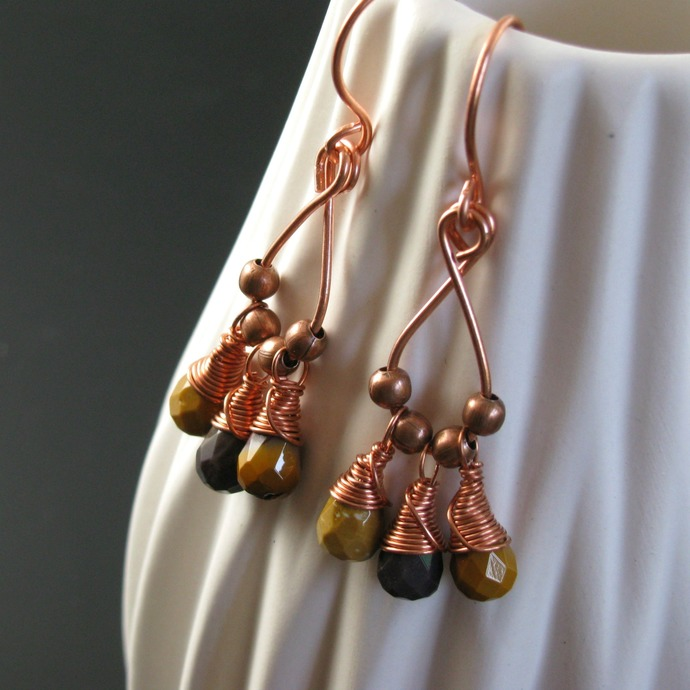 Wire wrapped dangly earrings with mookaite drops and copper beads